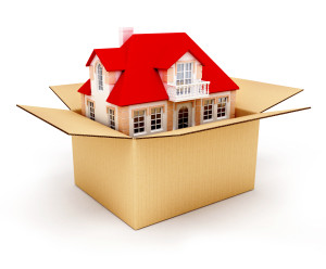 New house in the box real estate conceptual 3d illustration