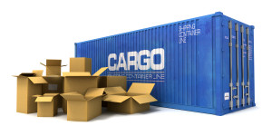 3D rendering of a cargo container and a pile of cardboard boxes